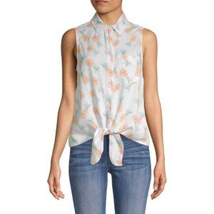 BeachLunchLounge Pineapple-Print Tie-Front Top M